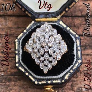 10k Vtg Designer John C. Rinker Diamond Ring
